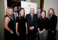 Annemarie Carrigan, Patrick Kelly, Kate Barton, UCD President Prof Andrew J. Deeks, Prof Doug Veale, Dr. Trudy McGarry & Prof Ursula Fearon at the UCD Newman Fellowship Programme dinner at the RDS on 6th March 2018.