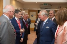HRH The Prince of Wales meeting with Prof Doug Veale of CARD during a visit to Our Lady's Hospice & Care Services.